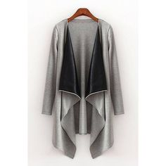 Yoins Yoins Draped Longline Cardigan ($27) ❤ liked on Polyvore featuring tops, cardigans, grey, gray cardigan, drape cardigan, longline top, gray open front cardigan and grey drape cardigan