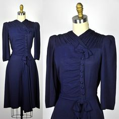 Royal blue rayon crepe dress, 1940's.