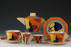 This would make such an interesting tablesetting / tablescape! Andrew Muir | Clarice Cliff, Art Deco Pottery, Moorcroft and 20th Century Ceramics Dealer - Sunray conical teaset