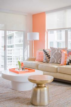 Orange, gold, white, beige and grey living room design - grown up pastels in a…