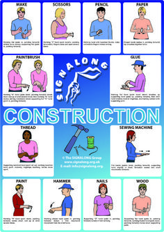 Construction Poster, J) Posters, Signalong Store Sign Language Basics, Sign Language For Kids, Sign Language Phrases, Sign Language Alphabet, Sign Language Interpreter, Learn Sign Language, British Sign Language, Language Lessons, Learn Bsl