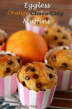 Kuch Pak Raha Hai: Eggless Orange Chocolate Chip Muffins with Orange Marmalade Glaze Eggless Muffins, Eggless Desserts, Eggless Recipes, Eggless Baking, Vegan Baking, Healthy Desserts, Egg Free Recipes, Muffin Recipes, Cupcake Recipes