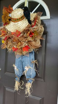 New Fall door decor FREE SHIPPING Scarecrow by XtinesDOORnaments