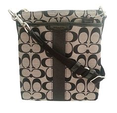 b153449e63 ... Coach Signature Stripe Swing-pack Cross-body Bag - Black White - Handbag  ...