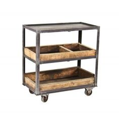 c. 1930's vintage american industrial three-tier compartmentalized riveted joint angled iron factory supply cart