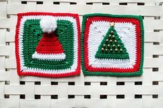 Wiam's Crafts: Christmas Hat and Tree Granny Squares - free crochet pattern.