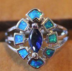 blue fire opal topaz ring gemstone silver jewelry Sz 7 elegant vintage style SJE
