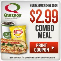 LAST CHANCE to get Quizno's Combo Meal for $2.99!