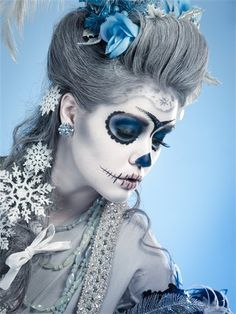 Halloween Day of the Dead Dia de los Muertos skull face painting makeup blue silver grey snowflakes