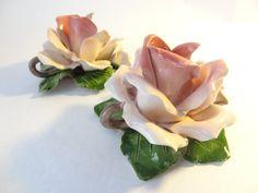 Candle holder rose vintage capodimonte rose by VintageBettyLuke, $39.95