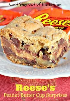 Reese's Peanut Butter Cup Surprises - Can't Stay Out Of The Kitchen Köstliche Desserts, Delicious Desserts, Dessert Recipes, Bar Recipes, Recipies, Peanut Butter Desserts, Reeses Peanut Butter, Peanut Butter Blondies Recipe, Cookies