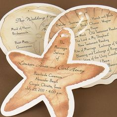 Wedding programs for a beach wedding feature a starfish, seashell and sand dollar are printed with your ceremony details on this three-piece program. Format only as shown