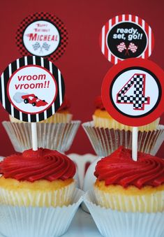 PRINTABLE 2 inch Party Circles - Black/Red Race Car Party. $9.00, via Etsy.