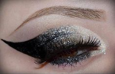 Beautiful combination of black, gray and white glitter colors. Highlight your eyes and make it look pretty using such sparkle #EyeShadow.   Click here to buy dramatic #eyeliners...