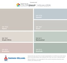 I found these colors with ColorSnap® Visualizer for iPhone by Sherwin-Williams: Alpaca (SW 7022), Simple White (SW 7021), Breathless (SW 6022), Upward (SW 6239), Zircon (SW 7667), Rainwashed (SW 6211), Quietude (SW 6212).