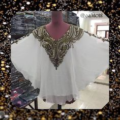 New White & Gold Bead & Sequin Double Lined Kaftan Elegant white and gold beading kaftan Free size kaftan, fit to most 3X or more  34 inches long georgette fabric material with sequins beads handwork  lining attack with kaftan, 0% transparent  very very  UNIQUE KAFTAN Handmade Tops Tunics