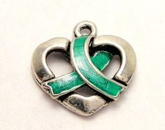 Cute charm! Organ donation awareness ribbon wrapped around a heart