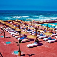 One of the many beach clubs on the Corniche. See where else we are traveling in Casablanca, Morocco including Imperial Casablanca Hotel & Spa,  Hassan II Mosque, the Four Seasons Hotel, and more .