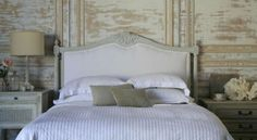 Louis XVI Style King upholstered headboard.  Hand carved in Beech wood with Oyster finish.  $1700.00