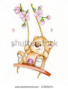 Teddy bear swinging on swing