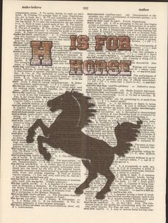 H is for Horse Vintage Upcycled Book Page by StorybookArtPrints