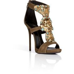 GIUSEPPE ZANOTTI Suede Sandals with Embellished Front in Military