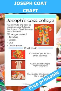 Joseph coat colourful craft for kids. easy to make. glue and cut - Free Bible lesson for under 5s - Trueway Kids
