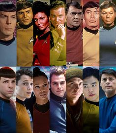 Star Trek- above: original cast, below: new cast (2009). I was amazed at how well the movie was cast, and how recognizable each roll was before the character was formally identified.  The film captured the original flavor of the series perfectly.
