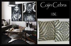 Cojines en símil piel de cebra, el complemento ideal para crear un  rincón con aire étnico. A la venta en Original House. Madrid