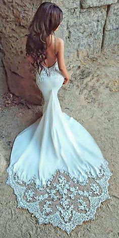 2018 fashion charming sexy mermaid open back sweetheart white lace beach wedding dress with applique Lace Beach Wedding Dress, Blue Wedding Dresses, Bridal Dresses, Wedding Gowns, Mermaid Wedding, Modest Wedding, Wedding Ceremony, Lace Bride, Bridesmaid Dresses
