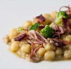 Chicche di semola con broccoli,totani e guanciale croccante