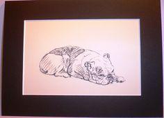 POODLE GRETA GARBO CHARMING LUCY DAWSON DOG ART SKETCH PRINT READY MOUNTED