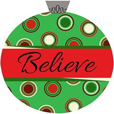"""Believe"" Polka Dots Christmas Ornament Door Hanger Made Out Of PVC Unique Textile Printing http://www.amazon.com/dp/B0147I4132/ref=cm_sw_r_pi_dp_lSI1vb1WJW5KP"