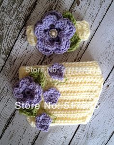 free shipping,baby Crochet purple Flower Vine Diaper/ Nappy Cover with Matching headband Set newborn crochet Photo props