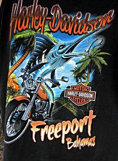 Mens Harley Davidson Motorcycles Freeport Bahamas T-shirt Size XL Great Graphics Harley Davidson Art, Harley Davidson T Shirts, Harley Davidson Motorcycles, T Shirt Design Vector, Tee Shirt Designs, Harley Dealer, Harley Davidson Dealership, Playboy Logo, Harley Shirts
