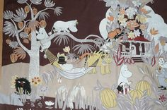 NEW Moomin fabric Jungle Moomin brown. $12.00, via Etsy.