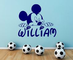 Personalized Name Wall Decal Mickey Mouse Decals Cartoon Sticker Boy Nursery Kids Room Bedroom Home Decor DS403
