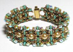CREU SuperDuo  pearls and Swarovski beads Beadwork by bead4me, $14.00