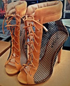 Black/brown patchwork mesh laces high heel sandals peep toe lace up summer ankle boots stiletto heels summer booties Schnür Heels, Stilettos, Pumps, Stiletto Heels, Dream Shoes, Crazy Shoes, Me Too Shoes, Heeled Boots, Bootie Boots