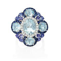 .31ct Diamond, Sapphire, Tanzanite and Aquamarine 18k White Gold and Black Rhodium Ring