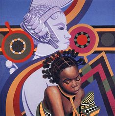 """Lois Mailou Jones, """"Two African Hairstyles"""", 1982"""