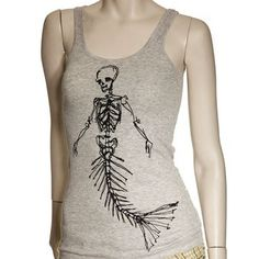 Skeleton mermaid tank.