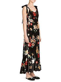 5332da54bab1e Attico Tie-Shoulder Floral Velvet Slip Dress Cold Shoulder Gown