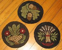buttermold chair pads from the Tattered Old Flag - I especially like the wheat!