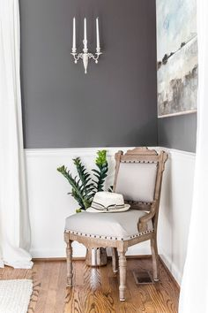 A thrifted spare chair gets a Restoration Hardware style makeover using just chalk paint and wax. #sparechair #furnituremakeover
