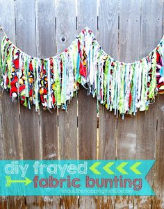 DIY Fabric Bunting ~ So Happy and Fun!! You could use any colors & patterns you'd like to set your theme.
