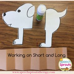Make this little accordion dog to work on the concepts of short and long. The kids love folding and unfolding him. No link, but easy to make!