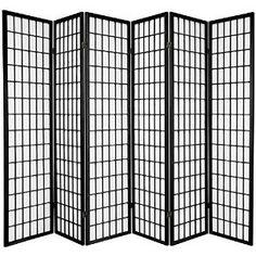 Oriental Furniture Asian Furniture, 6-Feet Window Pane Japanese Shoji Privacy Screen Room Divider, 6 Panel Black