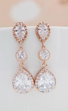 Luxury Rose gold plated Halo Style Cubic Zirconia Bridal Earrings from EarringsNation Rose Gold Weddings Blush Weddings #goldearrings