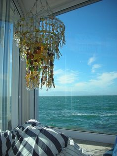 a chandelier by the sea